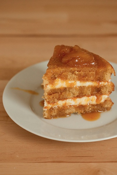 Brown sugar sponge cake with caramel pears
