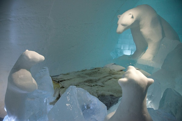 Polar bear room ice hotel sweden