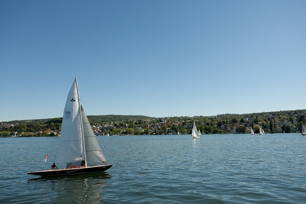 Boats on Lake Zurich in summer