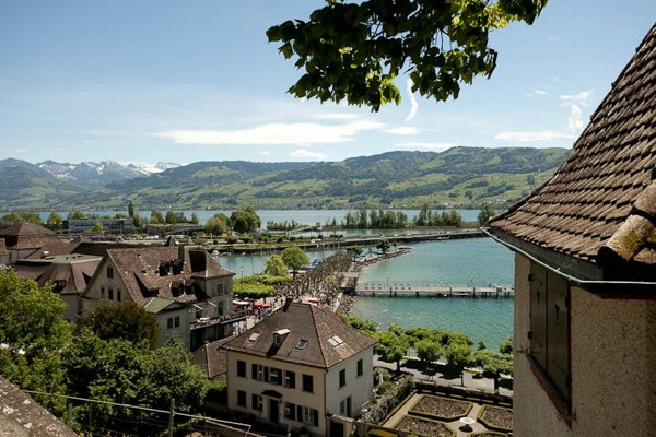 Swiss village Rappersvill lake Zurich