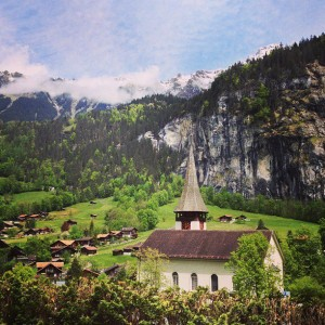 The beautiful little Swiss village of Lauterbrunnen that Geoff and I visited in May